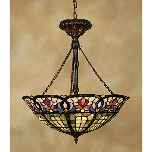 (Quoizel TF1438VB Hyacinth Tiffany Bowl Pendant Lighting, 3-Light, 300 Watts, Vintage Bronze (27