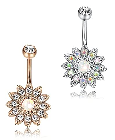 FUNRUN JEWELRY 2PCS Stainless Steel Belly Button Rings for Women Girls Navel Piercing Created-opal - Flower Button