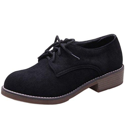 COOLCEPT Damen Casual Schnurung Niedrige Flach Buro Schuhe Black