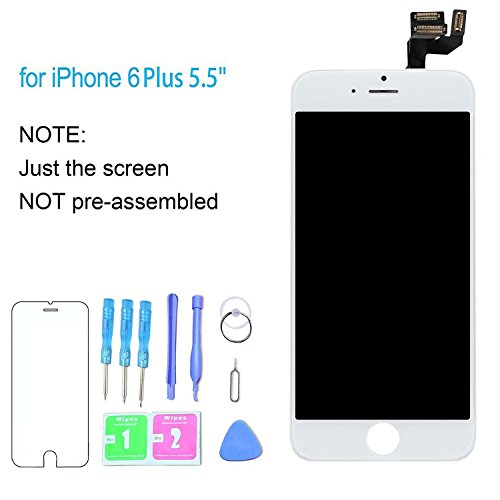 Homes Seal Gold ((OEM Quality) iPhone 6 Plus Screen Replacement White 5.5 Inch Compatible Parts Kit LCD Display Digitizer Frame Touch Screen Assembly Free Repair Tools Kit Professional Instructions Protector Fit)