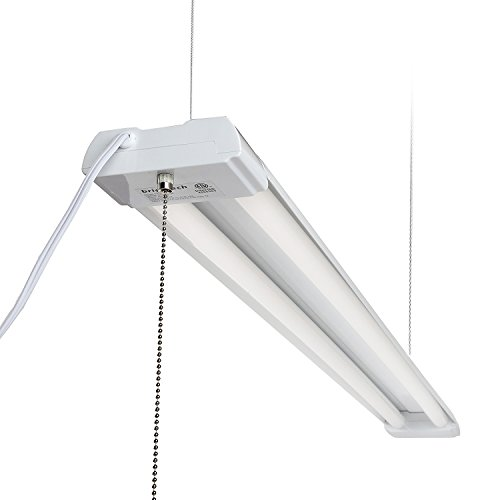 Brightech LightPRO LED Shop Light - 20 Year Life, 4FT 40 Watt Commercial Grade Workbench Utility Ceiling Fixture for Garage Office Warehouse - Equivalent 100 Watt Fluorescent - With Pull Cord Chain Cord Fluorescent Work Light