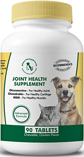 Glucosamine Chondroitin MSM for Dogs and Cats. Hip and Joint Supplements to Support Bone, Joint, Cartilage Health. Natural Anti Inflammatory for Arthritis Pain Relief. Safe for Senior Dogs. 90 Tabs (Best Glucosamine Sulphate Brand)