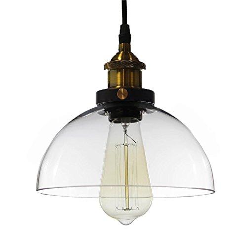 (Warehouse of Tiffany LD4708 Pendant Kolvr 1 Bronze Glass Dome Pedant Edison Light (Includes Bulb), Clear)