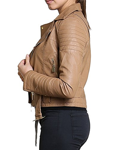 Crop Nouvelles Button ou Manteau Diana Ladies Faux Biker Metal Animal Camel Zip Veste Cuir Femmes Or Bnp5wz