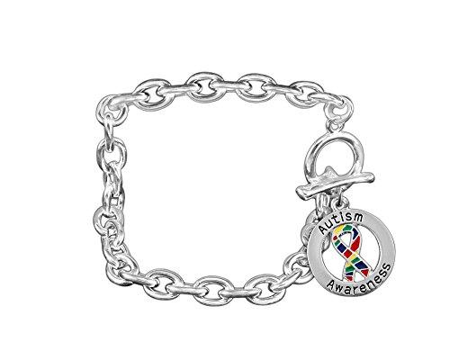 Bracelet Awareness Silver Ribbon Sterling (Round Autism Ribbon Chunky Charm Bracelet in a Gift Box (1 Autism Bracelet - Retail))