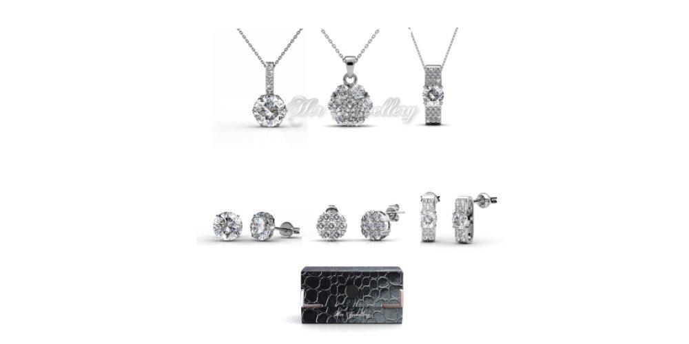 Her Jewellery Elegant Travel Set (Crystals From Swarovski)