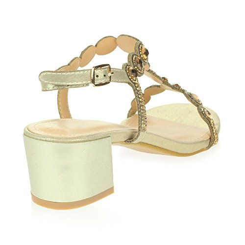 AARZ LONDON Womens Ladies Crystal Diamante Evening Wedding Party Bridal Prom Block Heel Sandals Shoes Size Gold TtIX2Ls1kp