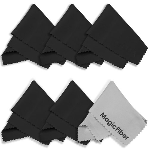 (6 Pack) MagicFiber® Premium Microfiber Cleaning Cloths - For Tablet, Cell Phone, Laptop, LCD TV Screens and Any Other Delicate Surface (5 Black, 1 Grey)