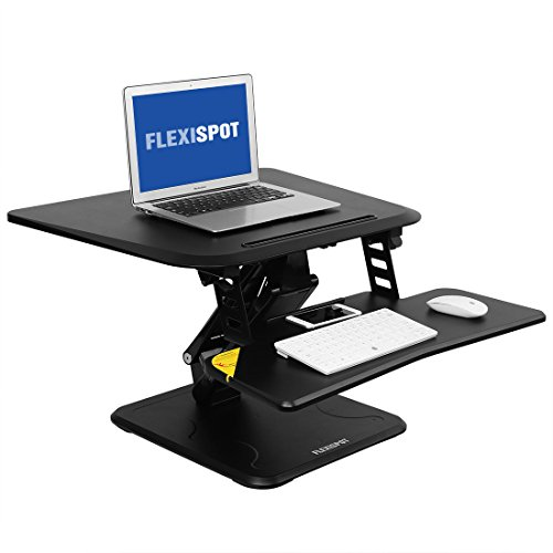 FlexiSpot M5B Desk Riser, 27 Height-Adjustable Standing Desk Converter with quick release keyboard tray (27'', Black) by FLEXISPOT