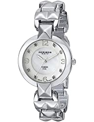 Akribos XXIV Womens AK755SS Swiss Quartz Movement Watch with White Mother of Pearl and Silver Dial with a Pyramid...