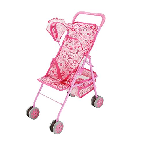 Baby Doll Stroller, Precious Pink with Swirls Design with Hood & Basket, My First Doll Stroller, Fold N' Go, The Best Toy Doll Accessory, The Perfect Gift for your Children. (Doll Baby Stroller Combo)