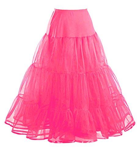 Comall Femme Jupon annes 50 vintage en tulle Rockabilly Petticoat longueur 100cm 3 tailles  choisir Fuschia
