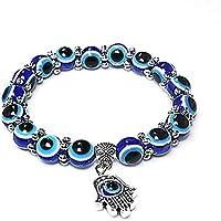 ORiTi Evil Eye Bead Bracelets for Women Evil Eye Hamsa Blue Beaded Charm Stretch Bracelet Hand of Fatima Turkish Evil…