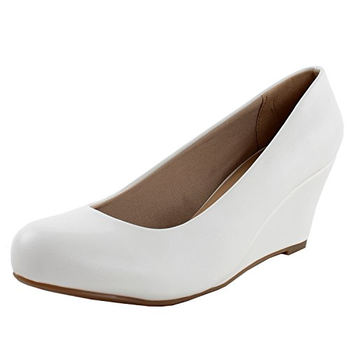 (Forever Link Women's DORIS-23 Faux Leather Mid Heel Round Toe Wedge Pumps White 7.5)