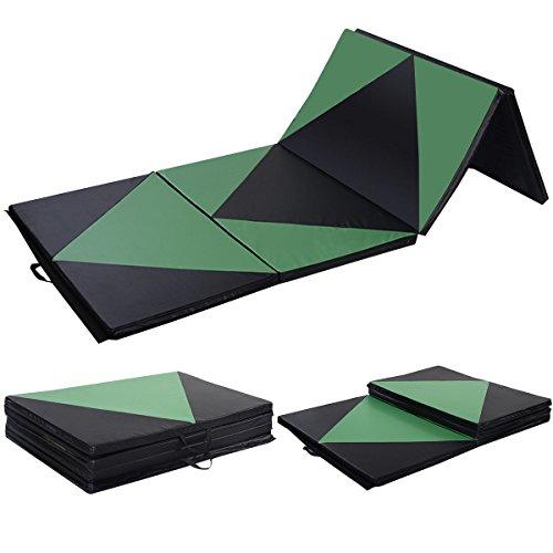 Polar Aurora 4'x10'x2' Gymnastics Mat Thick Folding Panel Gym Fitness Exercise Green/Black New