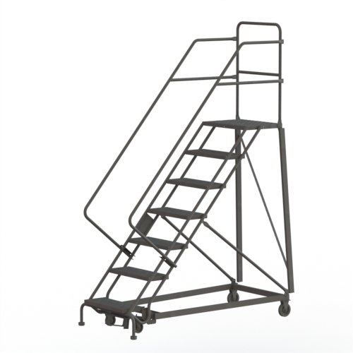 Tri-Arc KDHS107242 7-Step Heavy-Duty Safety Angle Steel Rolling Industrial & Warehouse Ladder with Grip Strut Tread