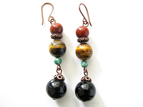 Red Jasper Tiger Eye Earrings for Women Black Onyx Semi Precious Genuine Gemstones Beaded Dangle Multi Stones (Jasper Earrings Tigers Eye)
