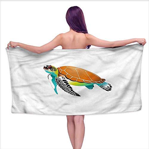 (Luxury Hotel & Spa Bath Towel Turtle,Subaquatic Wildlife Animal,W10 xL39 for bathrooms, Beaches, Parties)