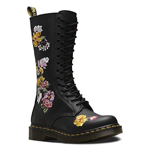 Dr. Martens Womens Vonda II Applique Core Originals Floral Black Boots - Black Softy T - 7