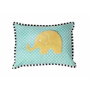 Bacati Elephants Unisex Dec Pillow Cover with Insert, Mint/Yellow/Grey