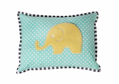 (Bacati Elephants Unisex Dec Pillow Cover with Insert, Mint/Yellow/Grey)