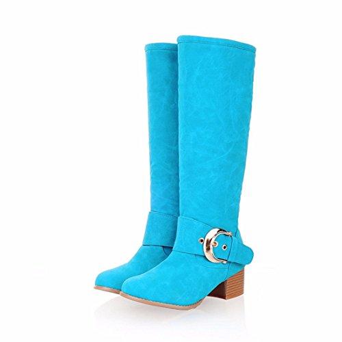 Botas de invierno candy color tamaño del tubo botas altas blue