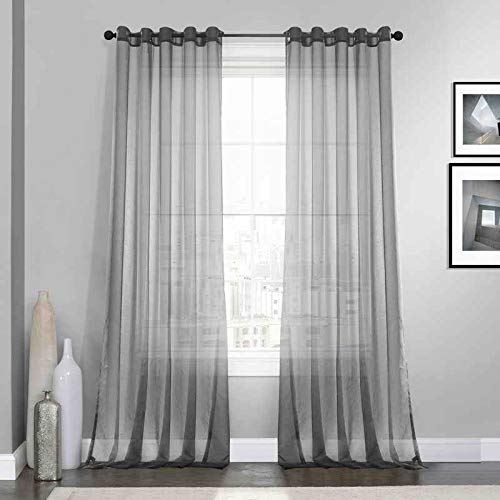 (Dreaming Casa Grey Solid Sheer Curtains Voile Window Treatment Draperies 52
