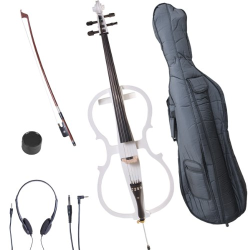Cecilio 4/4 CECO-1WH Pearl White Electric Cello with Ebony Fittings in Style 1 (Full Size) by Cecilio