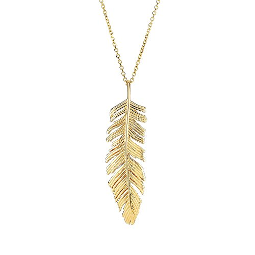 14k Yellow Gold 18 Inch Polish Finish Feather Cable Pendant ()