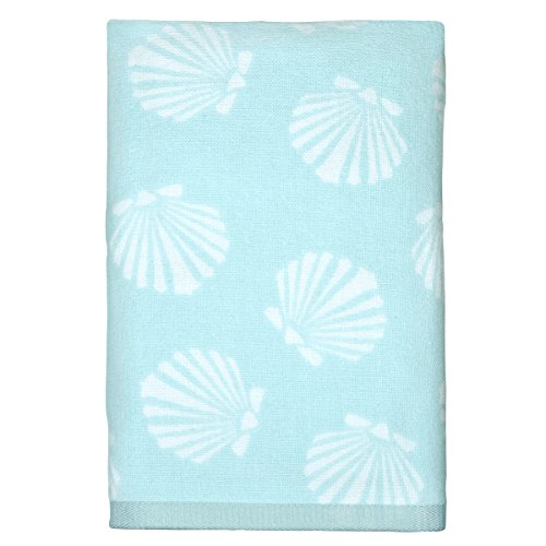 Peri-Home-Scallop-Hand-Towel-100Percent-Cotton-Blue-15x-26-Bordered