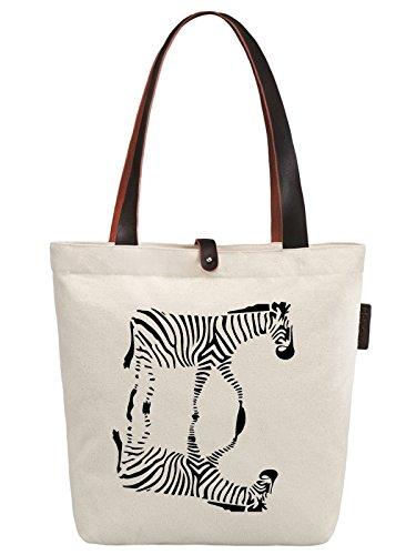 So'each Women's Animal Zebra Graphic Print Canvas Handbag Tote Shoulder Bag