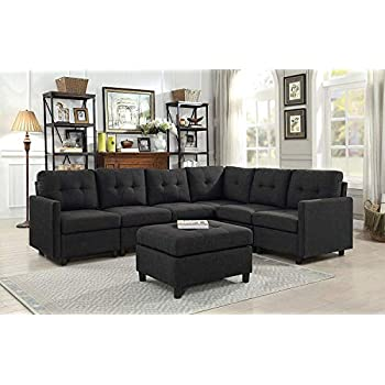 Amazon.com: OuchTek Grey Loveseat Sofas with Ottoman Linen ...