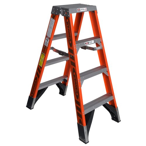 Werner T7404 375-Pound Duty Rating Fiberglass Multi-Use Twin Ladder, 4-Foot