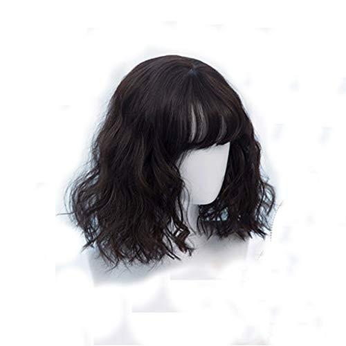 (Wig, Set Of Short Hair Full Headgear Realistic Natural Long Hair Curls (color : BLACK))