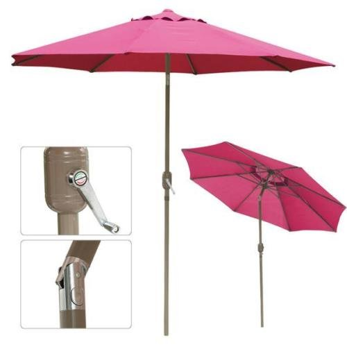 102' Aluminum Umbrella (10 ft Aluminum Outdoor Patio Umbrella Market Yard w/ Crank Tilt New)