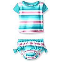 i play. Baby Girls' Swimsuit Set with Reusable Swim Diaper, Aqua Stripe, 6 Mo...