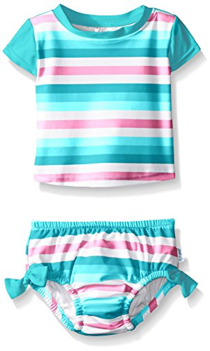 i play. Toddler Girls' Swimsuit Set with Reusable Swim Diaper, Aqua Stripe, 3T
