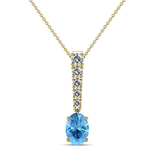 TriJewels Oval Blue Topaz & Diamond Journey Pendant 1.17 ctw 14K Yellow Gold with 18 Inches 14K Gold Chain