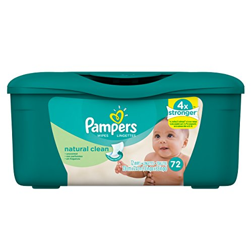 Pampers Natural Clean Unscented Water Baby Wipes Tub, 72 Count (Pack of 8)