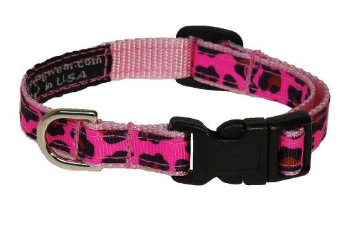 Sassy Dog Wear 6-12-Inch Pink Leopard Dog Collar, X-Small