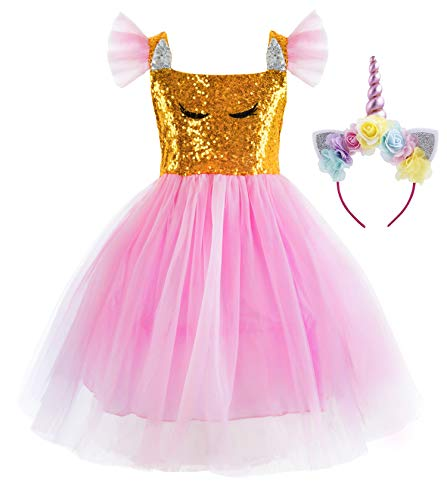 Princess Cinderella Rapunzel Little Mermaid Dress Costume for Baby Toddler Girl (18-24 Months, Pink Unicorn) -