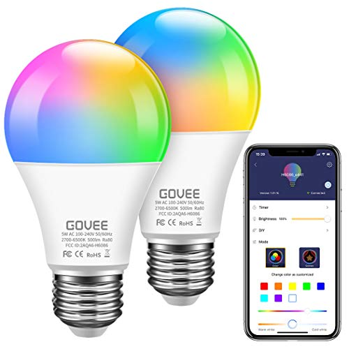 Govee WiFi Smart Light Bulbs Works with Alexa and Google Assistant, 500lm RGBWW Color Changing Light Bulb 5W LED Light Bulb for Home, Party, Stage, Bar (Only Supports 2.4 GHz WiFi, 2 Packs)