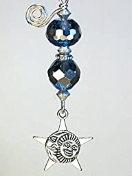 A Dreamy Blue Crescent Moon, Sun and Star Lampwork Glass Ceiling Fan Pull