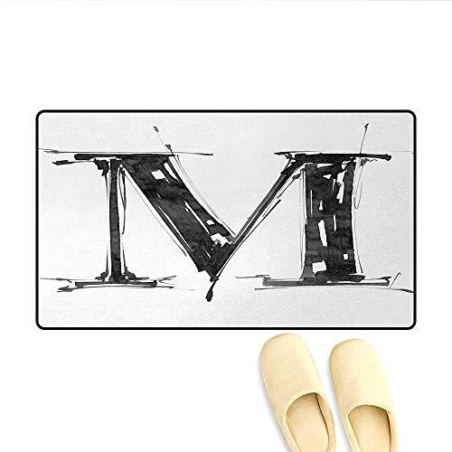 Bath Mat,Alphabet Symbol in Sketchy Stencil Art Style Hand Drawn Effect Funky Calligraphy,Door Mat Indoors Bathroom Mats Non Slip,Black White,Size:32