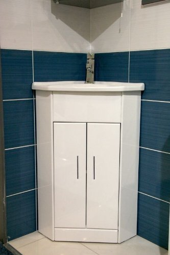 bLux - Mobile angolare da Bagno con lavabo in Ceramica, 570 x 400 cm ...