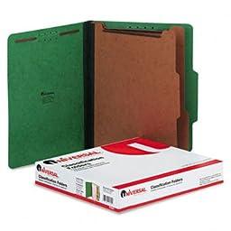 Pressboard Classification Folders, Letter, Six-Section, Emerald Green, 10/Box