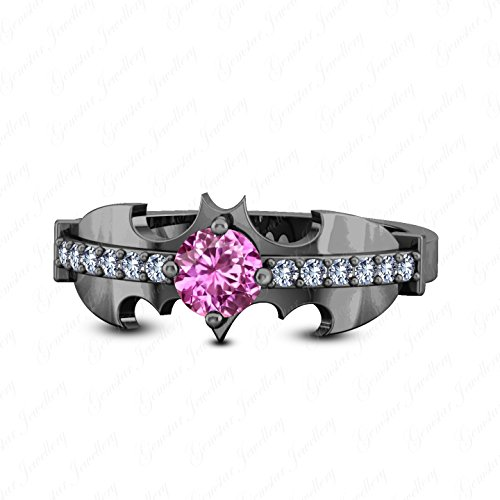Batman Wedding Ring With Diamond (Gemstar Jewellery Pink Sapphire & White Simulated Diamond 18K Black Gold Plated Batman Wedding)