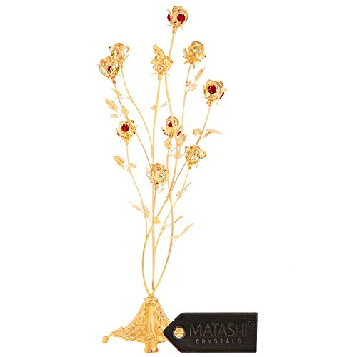 Mothers Day Gift – 24K Gold Plated Crystal Studded 10 Piece Rose Bouquet Flower Ornament Crafted with Stunning Ruby red Crystals - Great Gift for Mother's by Matahsi by Matashi (Image #1)'