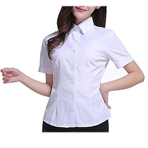 回路不道徳検出YUUTO 夏無地レディース シャツ事務服 正装 半袖ブラウス 通学 通勤 (L, 白い)