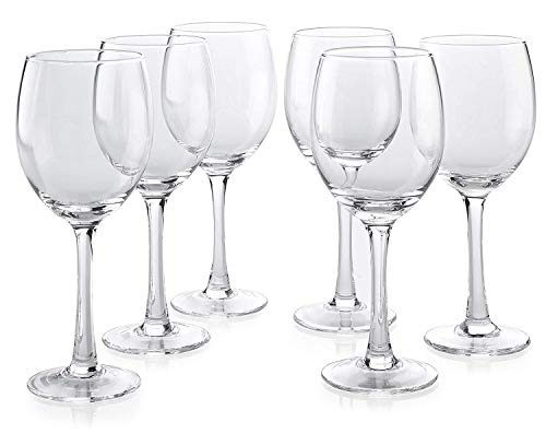 Classic Premium All Purpose Clear Wine Glasses Lead Free - Set Of 6 (10 Ounce) - Water Glass with Stem